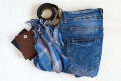 Flat lay Set of casual male clothes on a white background. Top Royalty Free Stock Photos