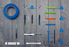 Flat lay of set of hand tools for repairs Stock Photos