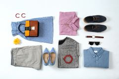 Flat lay set of stylish clothes and accessories. On white background Royalty Free Stock Images
