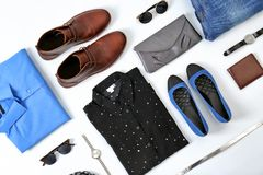Flat lay set of stylish clothes and accessories. On white background Stock Photo