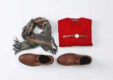 Flat lay set of stylish male clothes and accessories. On white background Royalty Free Stock Photography
