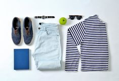 Flat lay set of stylish male clothes and accessories. On white background Royalty Free Stock Photos