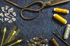 Flat lay of sewing tools for jeans denim fabric clothes Royalty Free Stock Photography