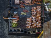 Flat lay shot from above a cook at the LA County Fair in Pomona, California Royalty Free Stock Photos
