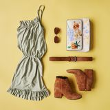 Flat Lay Shot Of Female Holiday Clothing And Accessories Royalty Free Stock Images