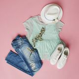Flat Lay Shot Of Girls Spring Clothing And Accessories royalty free stock photos