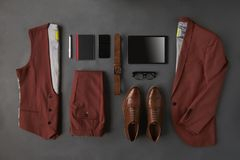 Flat Lay Shot Of Male Business Clothing And Digital Tablet Royalty Free Stock Image