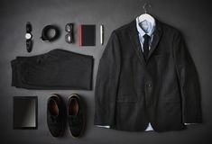 Flat Lay Shot Of Male Business Clothing And Digital Tablet Royalty Free Stock Images