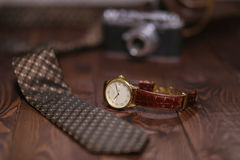 Flat lay shot of Men accessories. Still life. Business look. Royalty Free Stock Images