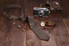 Flat lay shot of Men accessories. Still life. Business look. Stock Images