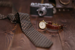 Flat lay shot of Men accessories. Still life. Business look. Royalty Free Stock Photography