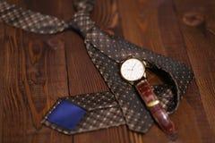 Flat lay shot of Men accessories. Still life. Business look. Stock Photos
