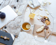 Flat lay shot of romantic morning breakfast,top view point. Free time work space royalty free stock images