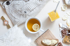 Flat lay shot of romantic morning breakfast,top view point. Free time work space stock image