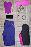 Flat lay shot of woman's sport accessories Stock Images
