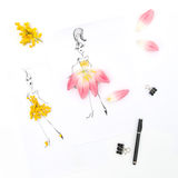 Flat lay with sketch book tulip mimosa flowers Royalty Free Stock Images