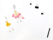 Flat lay with sketchbook tulip mimosa flowers Royalty Free Stock Photos