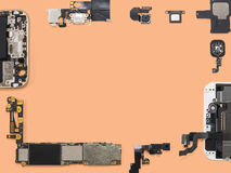 Flat Lay of smart phone components isolate Royalty Free Stock Images