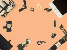 Flat lay of smart phone components isolate Royalty Free Stock Photo