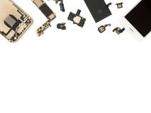 Flat Lay of smart phone components isolate stock photo
