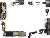 Flat Lay of smart phone components isolate Stock Photos