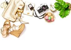 Flat lay social media fashion bloggers Bag shoes photo camera Stock Photo