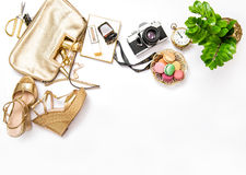 Flat lay social media fashion bloggers. Bag shoes vintage photo Royalty Free Stock Images