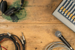 Flat lay of sound equipments. Mixer, Microphone, jack with wire, Headphone Royalty Free Stock Image