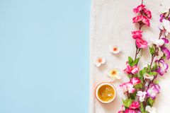 Flat lay of spa cream and color flowers on white towel on blue background, copy space royalty free stock photos
