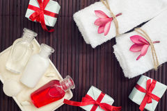 Flat lay spa with presents. Special offer, holiday concept Stock Photo