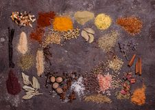 Flat lay spicy frame Royalty Free Stock Images