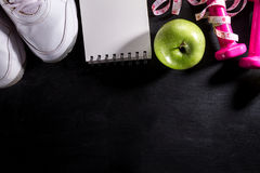Flat Lay Sport Concept Healthy Life Equipment on Dark Vibrant Ba Stock Photo