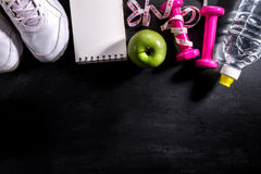 Flat Lay Sport Concept Healthy Life Equipment on Dark Vibrant Ba Royalty Free Stock Photos
