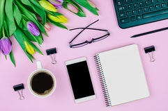 Flat lay spring workplace Stock Images