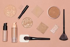 Flat lay still life of foundation makeup products stock image