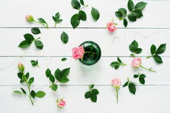 Flat lay still life with roses. On a white wooden background Royalty Free Stock Image