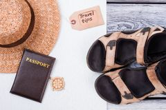 Flat lay style of summer accessories and travel items. royalty free stock photos