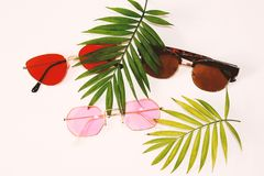 Flat lay summer beach holiday accessories on white background with palm leaf, camera, straw hat and and sunglasses. Space for text. Travel and beach vacation royalty free stock photography