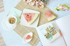 Flat lay, summer, work the freelance, watermelon royalty free stock photography