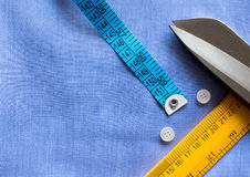 Flat lay, tailor equipment. Measuring tape, scale, buttons and s Stock Photography
