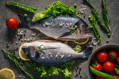 Flat lay of tasty dorado fish with vegetables and spices Stock Photos