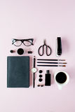 Flat lay, top view black style office table desk. feminine working supplies Stock Photos