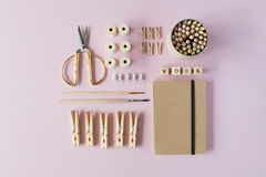 Flat lay, top view brown eco style office table desk. feminine working supplies Stock Photo