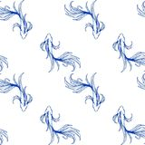 Flat lay or top view Fighting fish free hand ink drawing oriental ornament style design for porcelain seamless. Pattern or blue and white tone background Royalty Free Stock Image