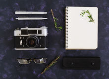 Flat lay, top view office table desk. Desk workspace with retro camera, diary, pen, glasses, case, rosemary on dark background. Stock Images