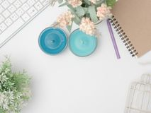Flat lay, top view office table desk frame. feminine desk worksp Royalty Free Stock Photos