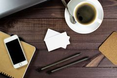 Flat lay, top view office table desk. Mockup business card on table, on dark background. Concept for internet banners, marketing,. Flat lay, top view office stock photos