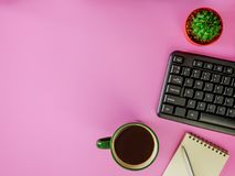 Flat lay office desk with copy space. Flat lay,top view pink office desk with copy space Stock Image