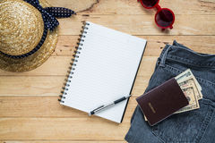 Flat lay travel accessories costumes notebook and copy space royalty free stock photography