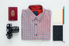 Flat lay of traveler accessories Royalty Free Stock Images